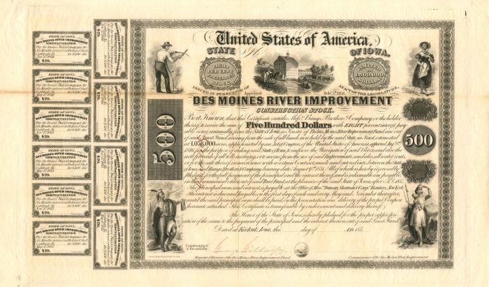 State of Iowa, Des Moines River Improvement $500 Bond