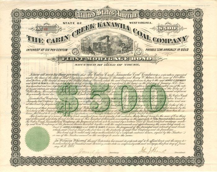 Cabin Creek Kanawha Coal Company - $500 Bond