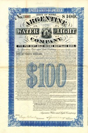 Argentine Water and Light Company - $100 Bond