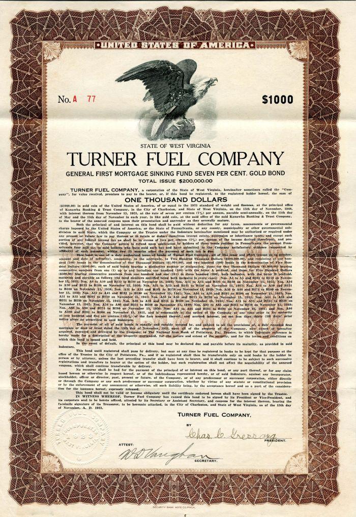 Turner Fuel Company - $1,000