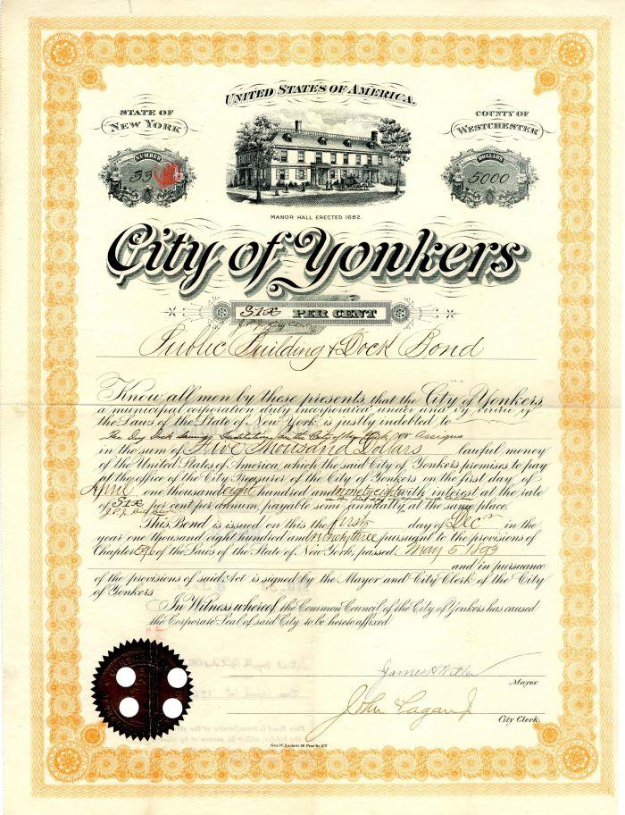 City of Yonkers - $5,000 Bond