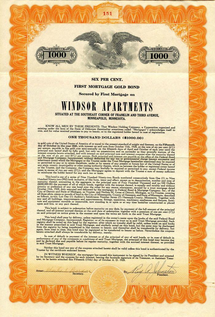Windsor Apartments - $1,000 Bond