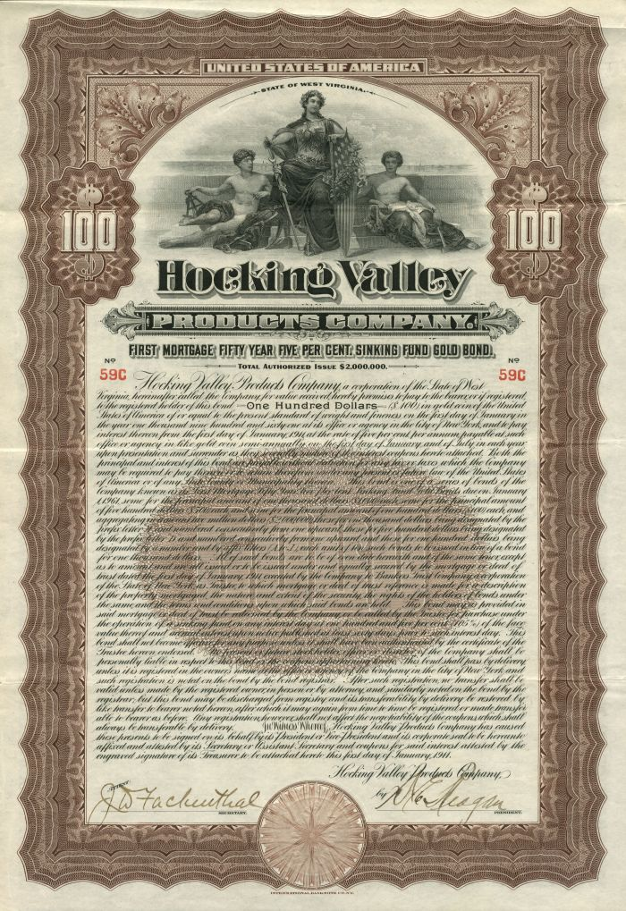 Hocking Valley Products Company - Bond - SOLD