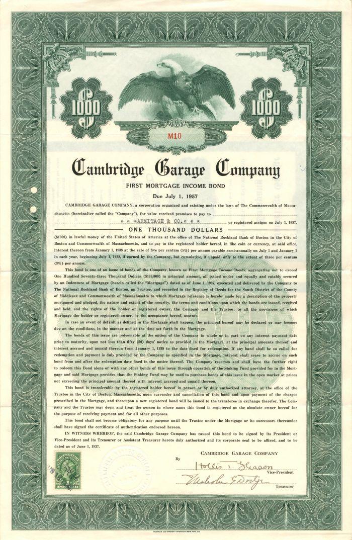 Cambridge Garage Company - $1,000 - Bond