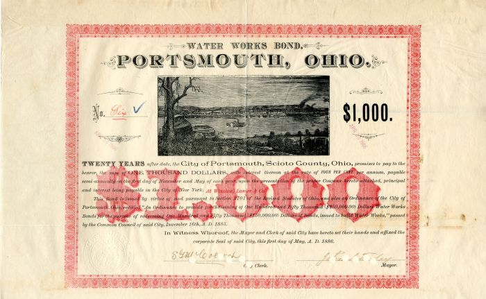 City of Portsmouth, Scioto County, Ohio - $1,000 Bond