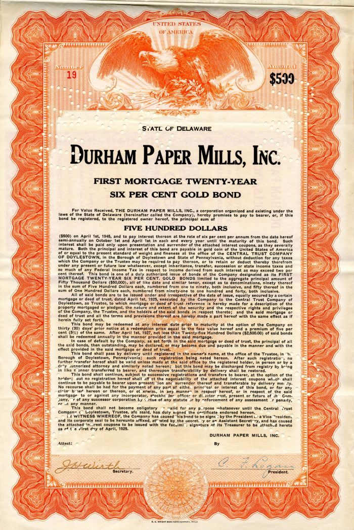 Durham Paper Mills, Inc. - $500 Bond