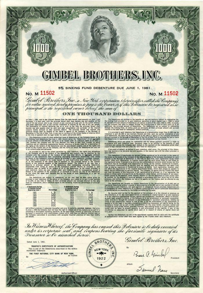 Gimbel Brothers, Inc. - $1,000 Bond