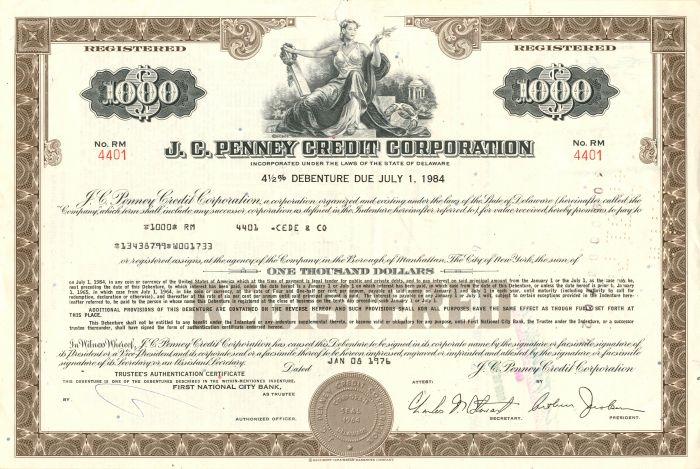 J.C. Penney Credit Corporation - $1,000 Bond
