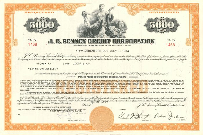 J.C. Penney Credit Corporation - $5,000 Bond