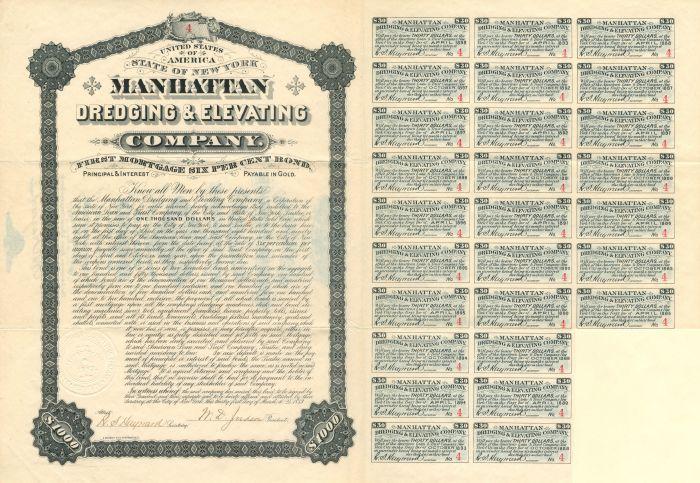Manhattan Dredging & Elevating Company - $1,000 Bond