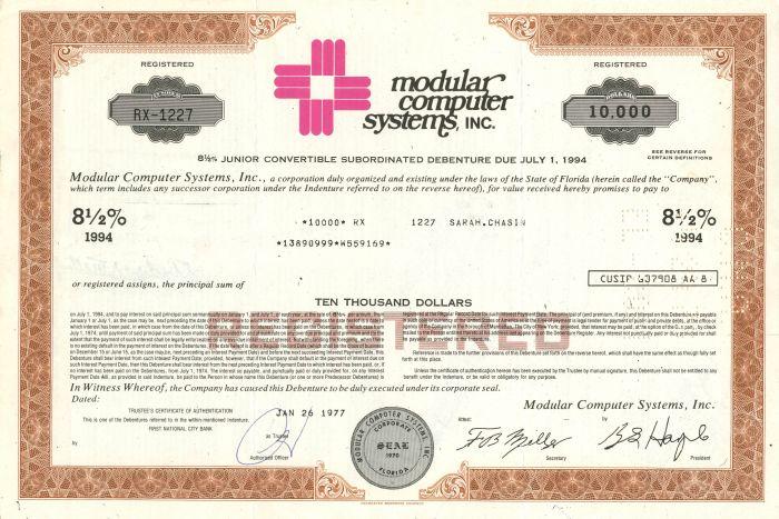 Modular Computer Systems, Inc. - $10,000 Bond - SOLD