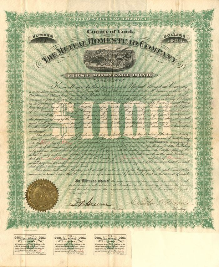 Mutual Homestead Company - $1,000 Bond