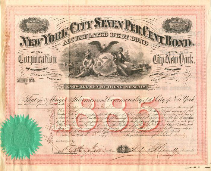 New York City Seven Per Cent Bond - $1,000 or $10,000 Bond