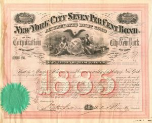 New York City Seven Per Cent Bond - SOLD