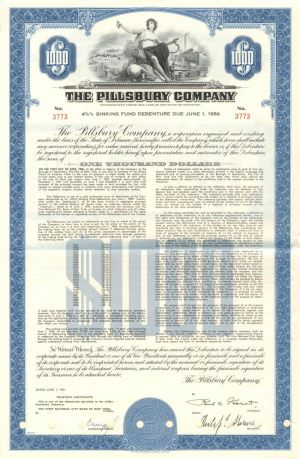 Pillsbury Company - $1,000 Bond