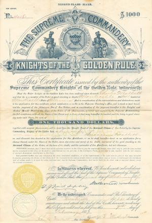 Supreme Commandery Knights of the Golden Rule - $1,000 Bond