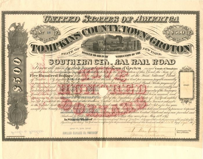 Southern Central Railroad - $500 Bond