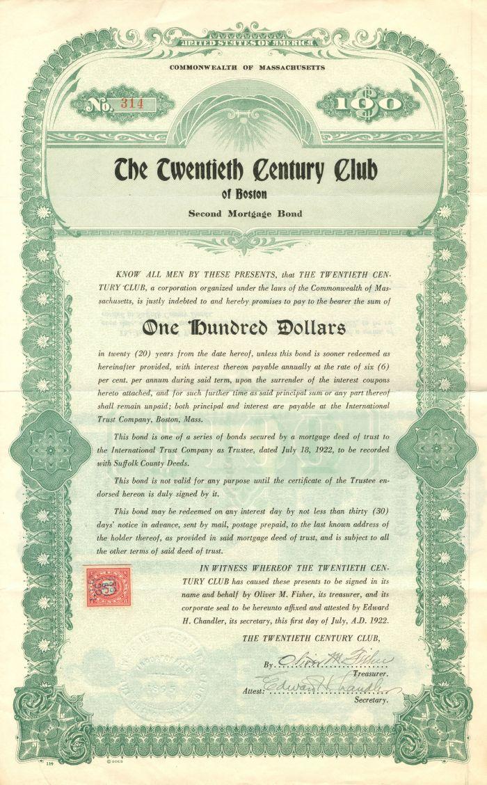 Twentieth Century Club of Boston - $100 Bond