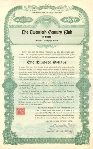 Twentieth Century Club of Boston - $100 Bond