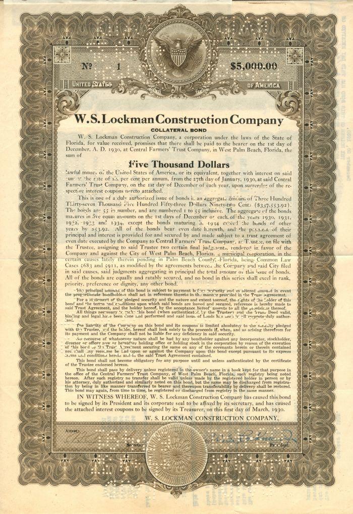 W.S. Lockman Construction Company - $5,000 Bond