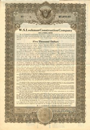 W.S. Lockman Construction Company - $5,000 Bond