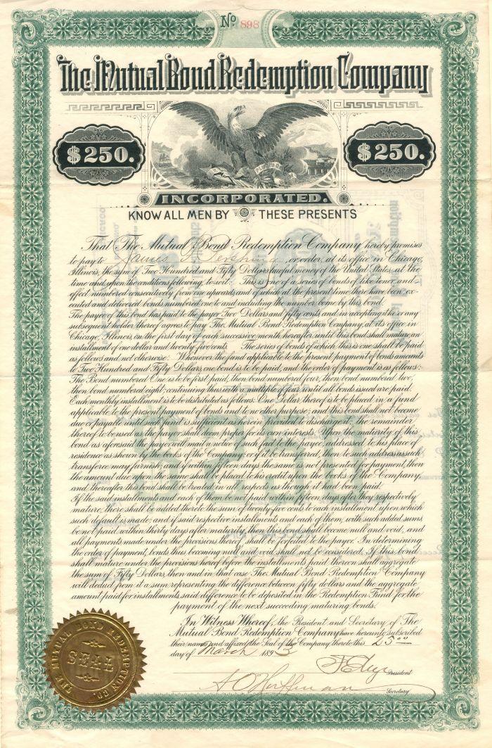 Mutual Bond Redemption Company - $250 Bond