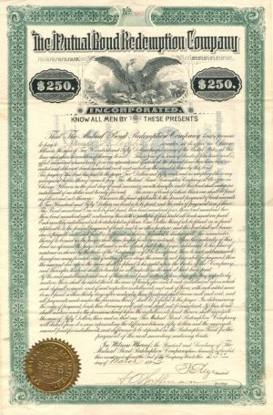 Mutual Bond Redemption Company - $250 Bond