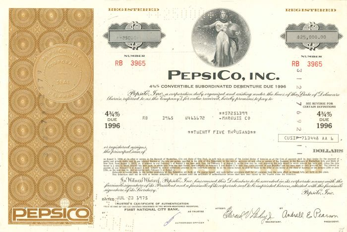 Pepsico, Inc. - $25,000 Bond - SOLD