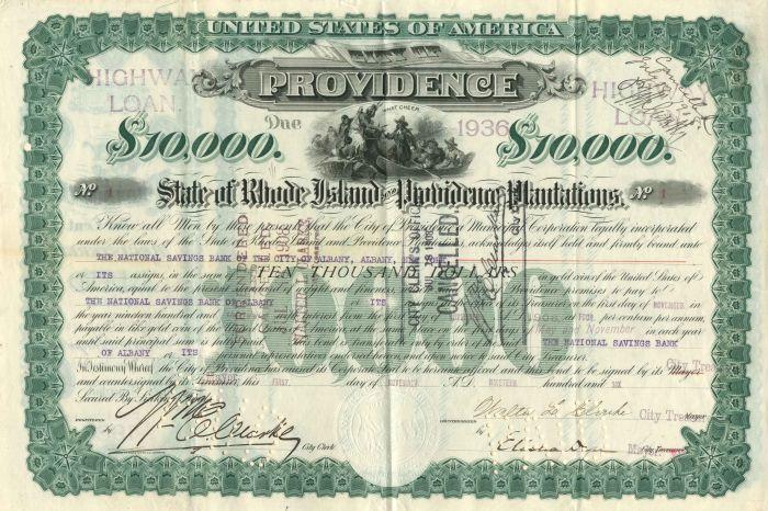 City of Providence - Certificate #1 - Bond