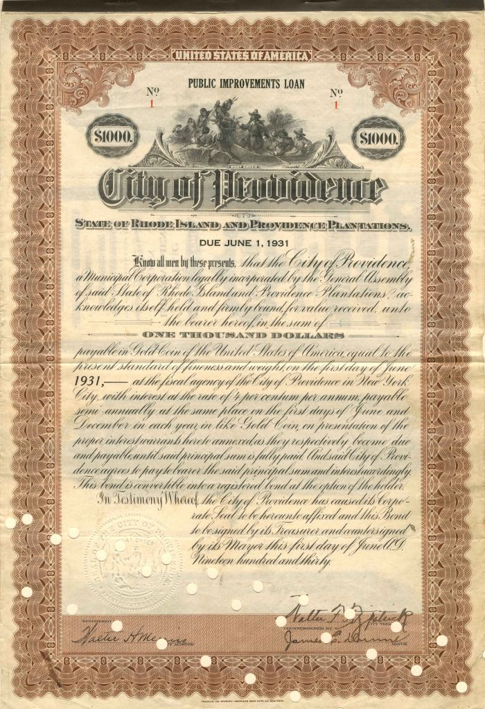 City of Providence - Certificate #1 - Bond