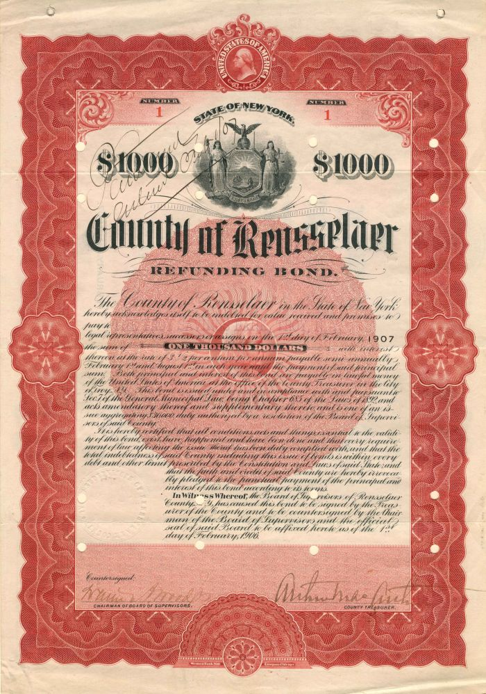 County of Rensselaer - Certificate #1 - Bond