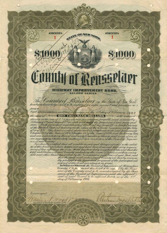 County of Rensselaer - Certificate #1 - Bond