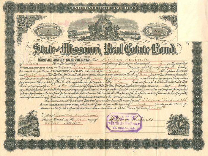 State of Missouri Real Estate Bond - Certificate #1