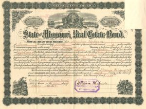 State of Missouri Real Estate Bond - Certificate #1