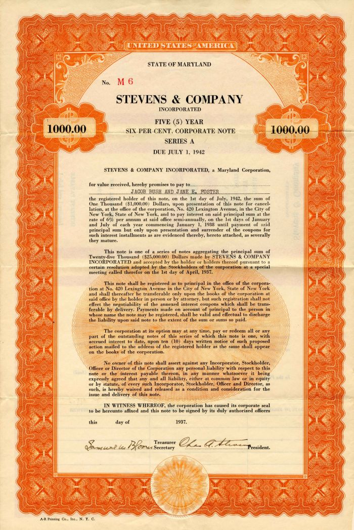 Stevens & Company Incorporated - $1,000 - Bond
