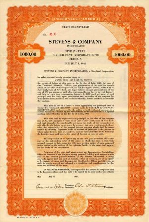 Stevens & Company Incorporated - $1,000