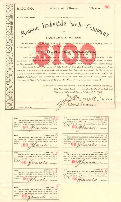 Monson Lakeside Slate Company - $100 - Bond