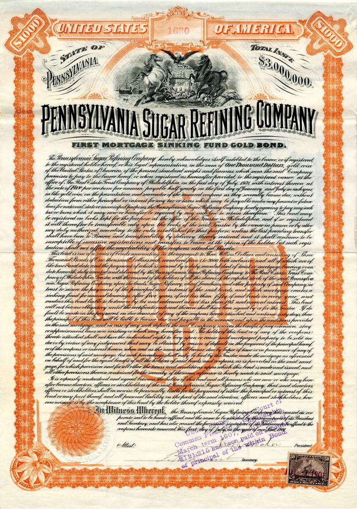Pennsylvania Sugar Refining Company - $1,000 - Bond