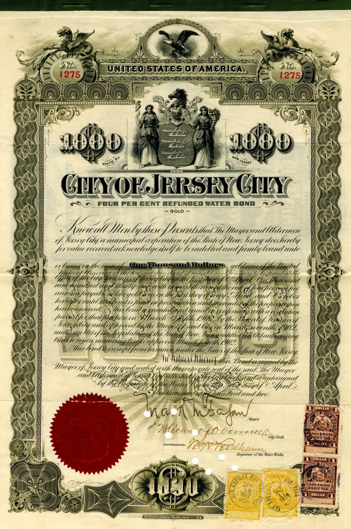 City of Jersey City - $1,000 - Bond