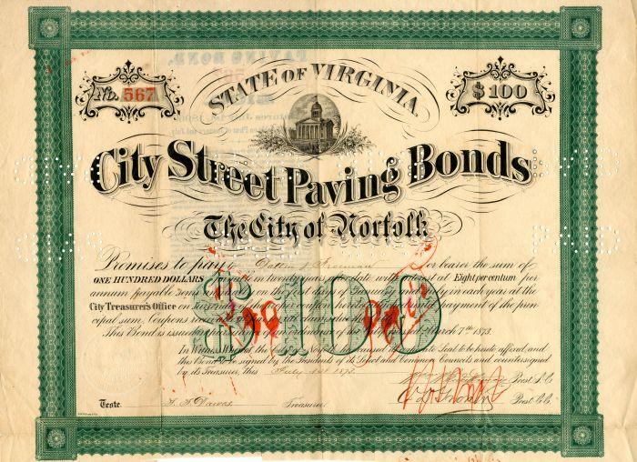 City Street Paving Bonds - $100
