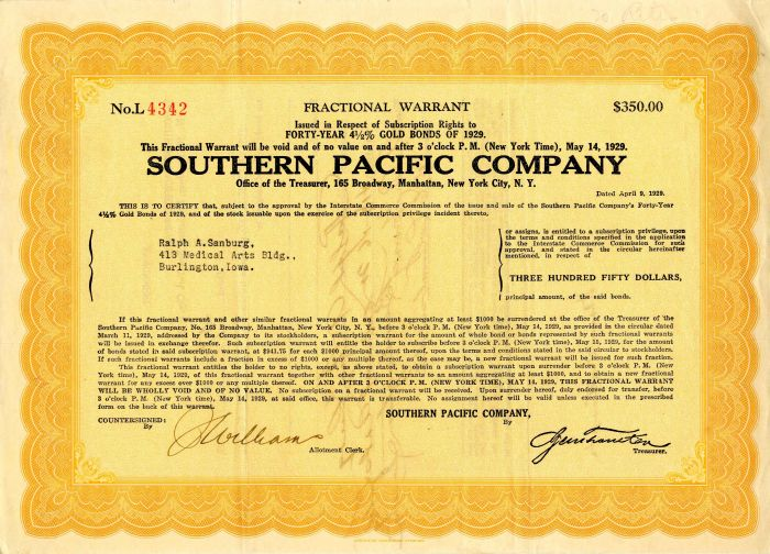 Southern Pacific Company - Various Denominations - Bond