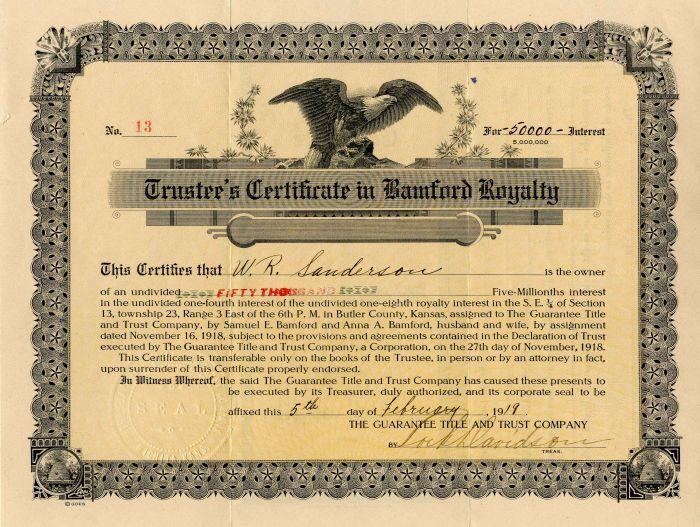 Trustee's Certificate in Bamford Royalty - Bond
