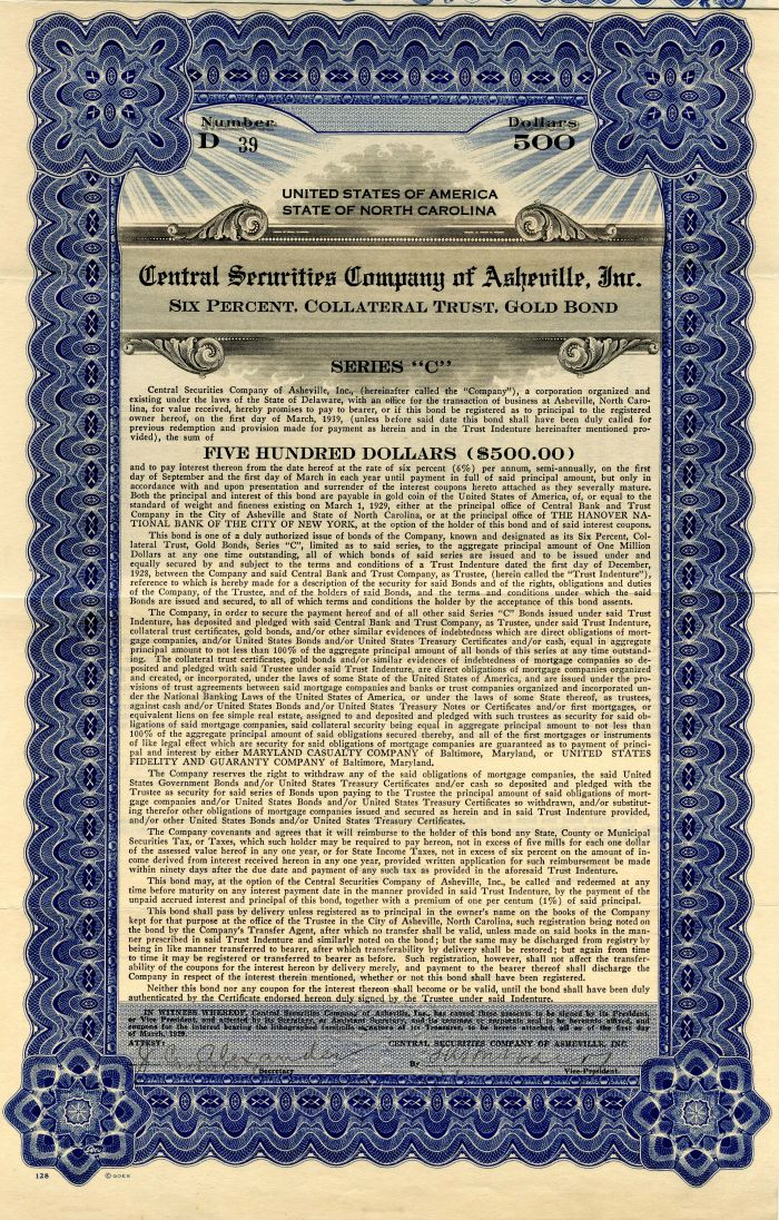 Central Securities Company of Asheville, Inc. - $500