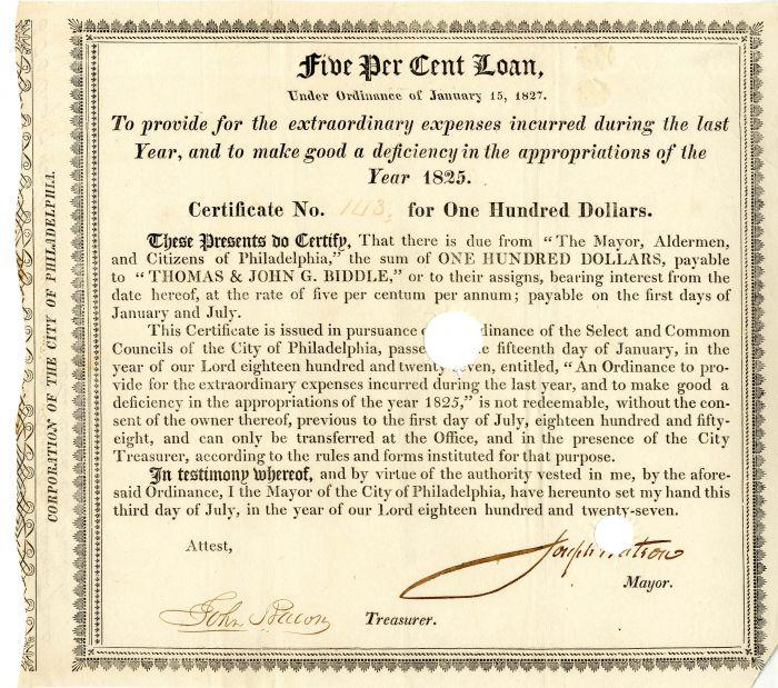 City of Philadelphia $100 Bond