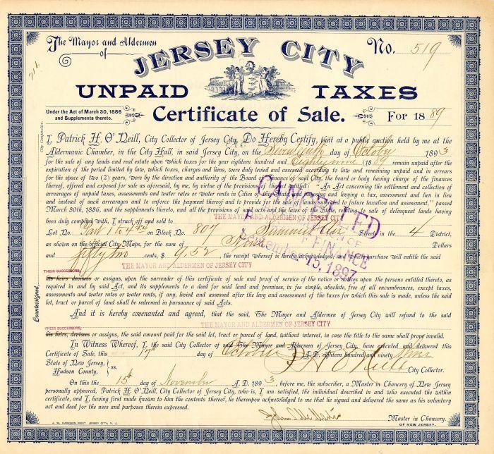 Jersey City Unpaid Taxes