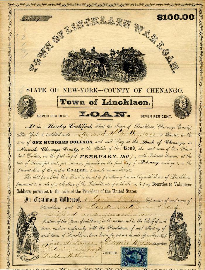 Town of Lincklaen War Loan - $100