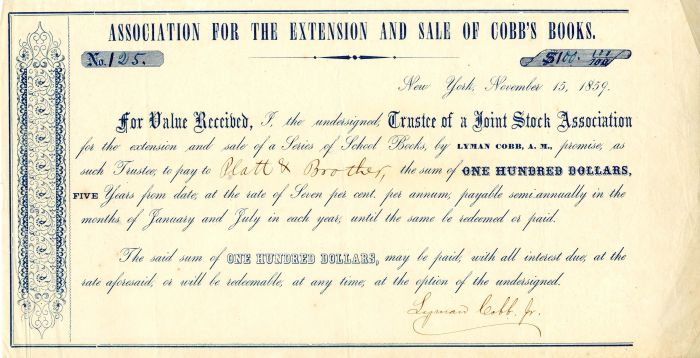Association for the Extension and Sale of Cobb's Books - $100