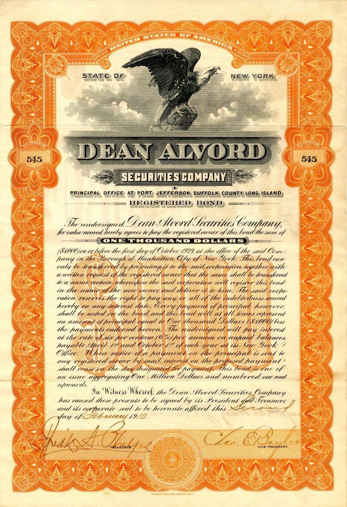 Dean Alvord Securities Company - $1,000