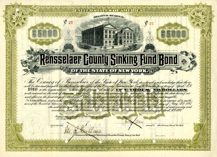 Rensselaer County Sinking Fund Bond - $5,000