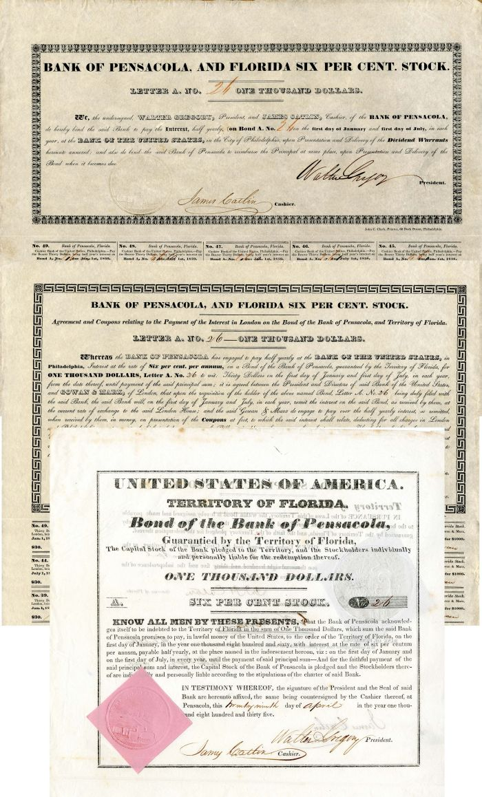 Bond of the Bank of Pensacola